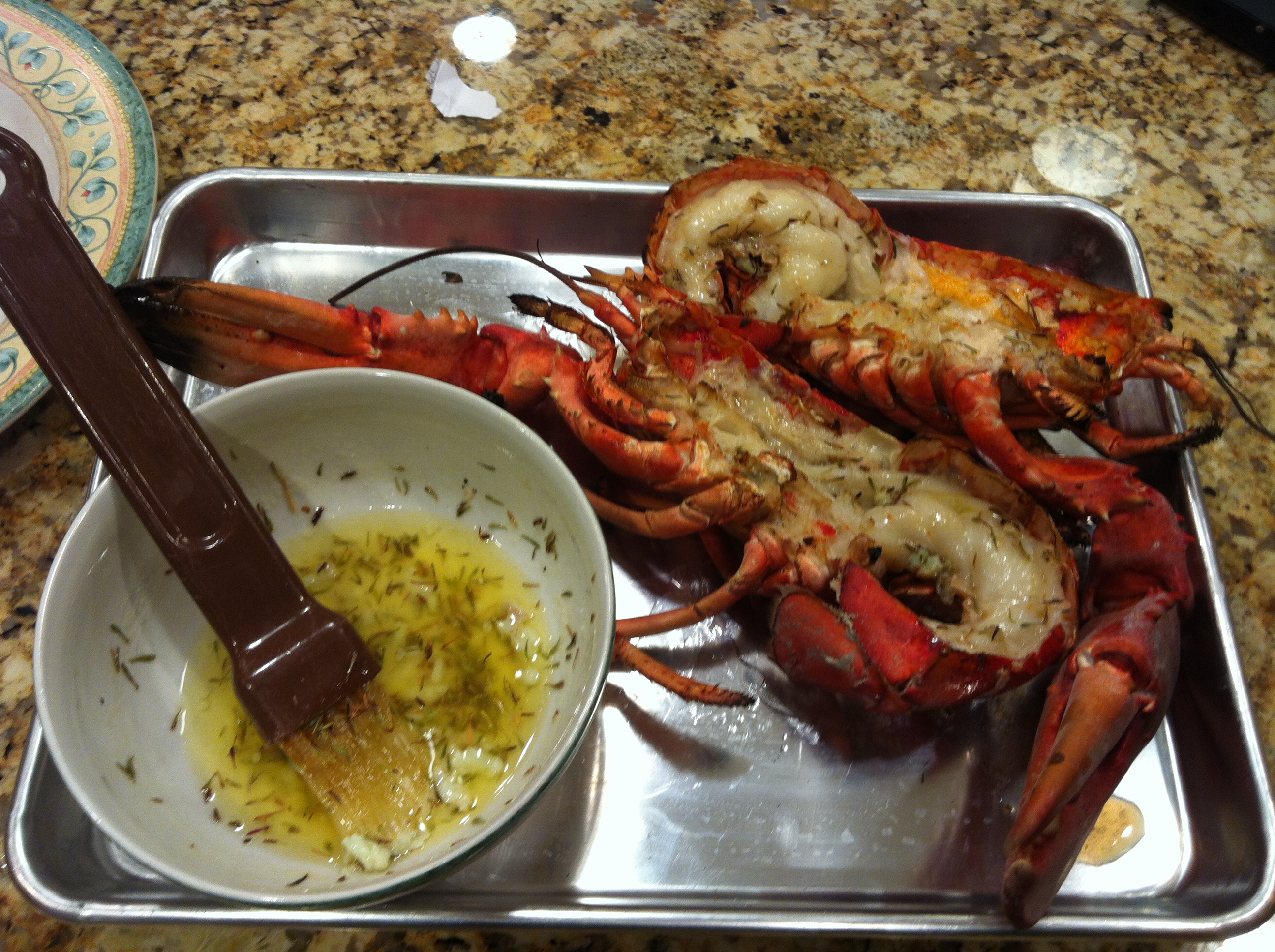 Grilled Lobster with Garlic Thyme Butter   Smartchefblog